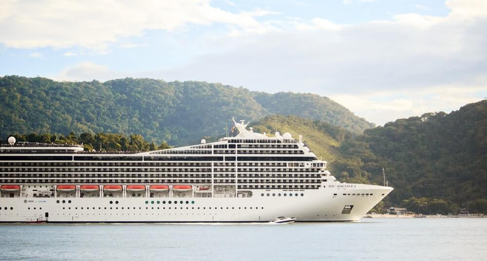 Cruise ship on the water.